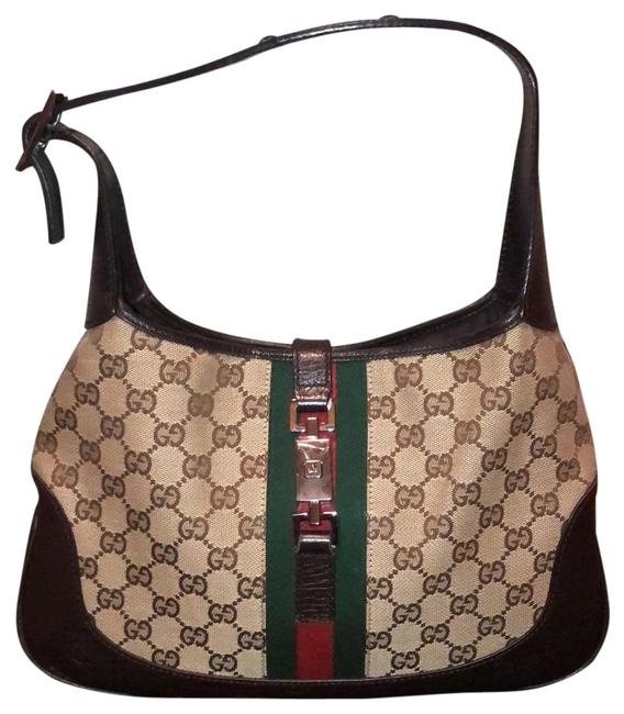 Item - Real Brown Red and Green Canvas Hobo Bag