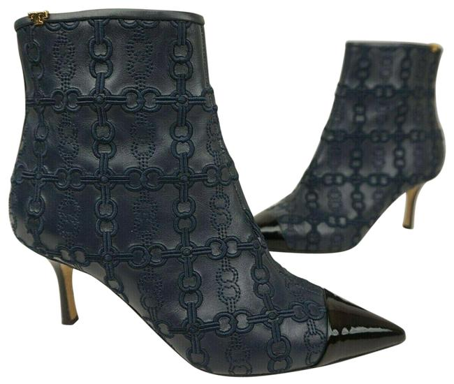Item - Blue Embroidered Penelope Leather Women's Boots/Booties Size US 7.5 Regular (M, B)