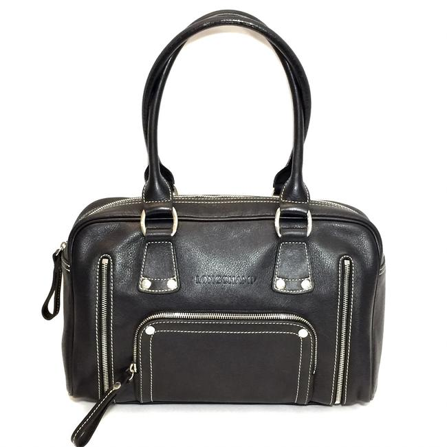 Longchamp Pebbled Leather with Zipper Detail Black Satchel Longchamp Pebbled Leather with Zipper Detail Black Satchel Image 1