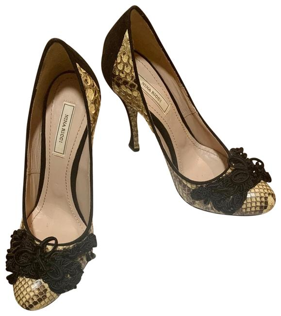 Item - Black and Tan Python Leather with Crystal Embellished Toes Pumps Size EU 37.5 (Approx. US 7.5) Regular (M, B)