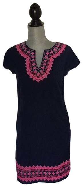 Item - Navy Blue and Pink Summer Short Casual Dress Size 0 (XS)