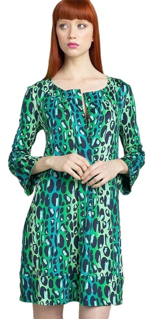 Item - Blue/Green Gaby Leopard Shift Short Casual Dress Size 6 (S)