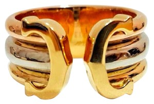 Cartier Double C 18k Tri-Color Gold Open Band Ring Size US 5.5 Certificate