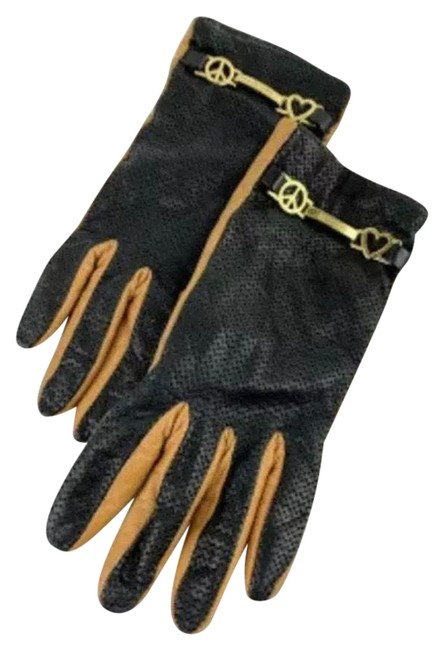 Item - Black/Orange Perforated Lambskin Driving Gloves