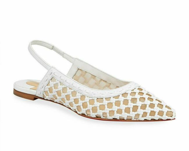 Item - White Cage and Sling Mesh Leather Slingback Flat Sandals Pumps Size EU 38 (Approx. US 8) Regular (M, B)