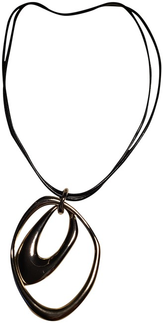 Item - Silver and Black Leather Cord Necklace
