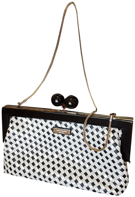 "Item - Crossbody ""Rare"" Weave Black & White Patent Leather Clutch"