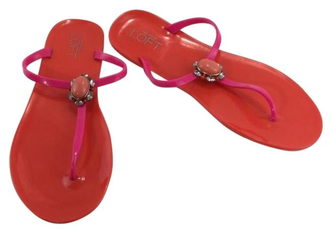 Item - Red & Pink Multi Slide In Rhinestone Sandals Size US 9 Regular (M, B)
