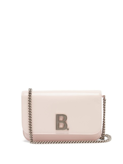 Item - Wallet on Chain Mf B. Pastel Pink Leather Cross Body Bag