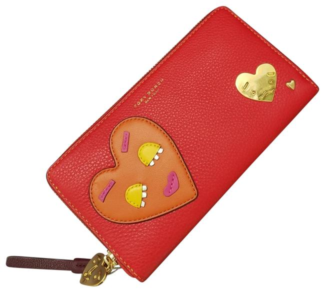 Item - Perry Patchwork Hearts Zip Continental Wallet Brilliant Red / Crazy Pink Leather Wristlet