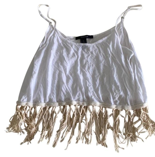 Forever 21 White Fringe Tank Top/Cami Size 2 (XS) Forever 21 White Fringe Tank Top/Cami Size 2 (XS) Image 1
