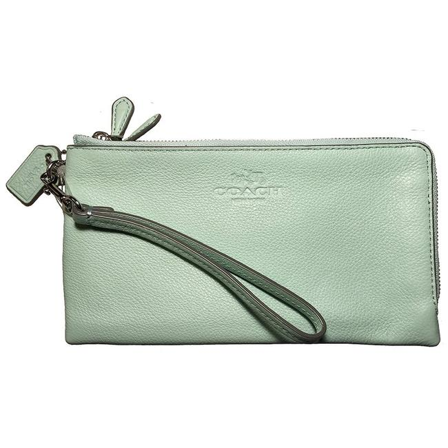 Item - Silver/Seaglass Pebbled Leather Double Zip Wristlet (F53561) Wallet