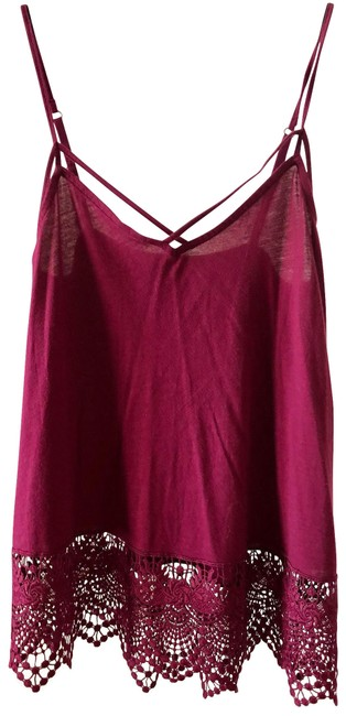 Item - Red With Lace Trimming Tank Top/Cami Size 2 (XS)