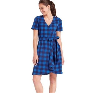 Draper James short dress Blue Buffalo Plaid Wrap Midi Stretchy V-neck on Tradesy