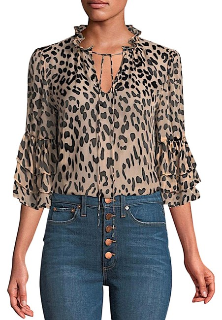 Item - Black/Red New with Tag Women's Julius Leopard-print Button-front Blouse Size 8 (M)