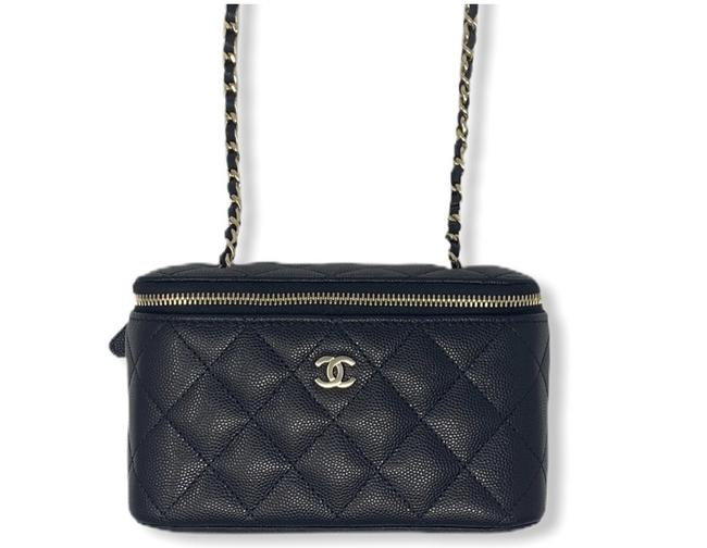 Item - Vanity Case W Like New Sold Out Caviar Quilted Mini W/ Gold Black Calfskin Leather Cross Body Bag