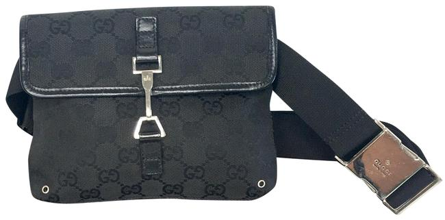 Item - Waist Bum Monogram Fanny Pack Black Canvas Cross Body Bag