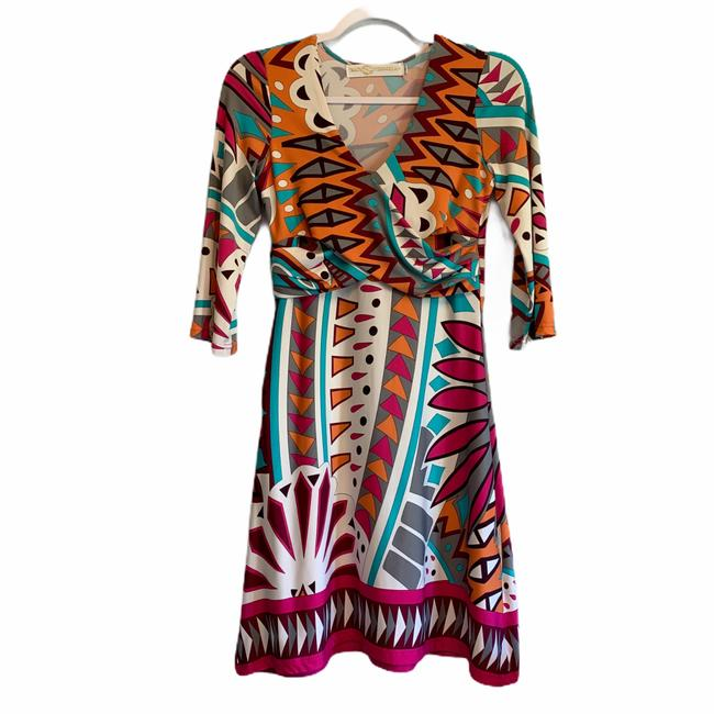 Item - Orange Pink Turquoise Stretchy Form Fitting Comfortable Mid-length Work/Office Dress Size 4 (S)