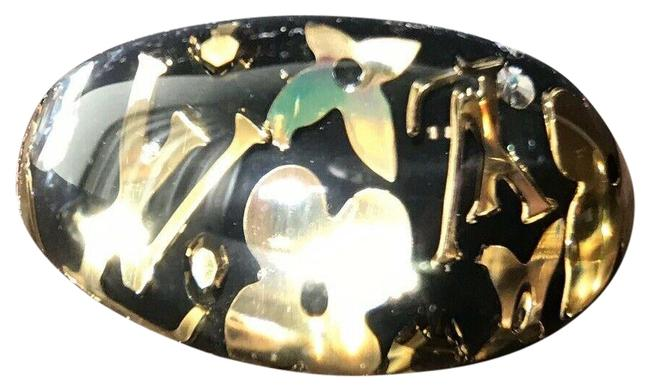 Item - Black Clear Resin Gold Crystal Inclusion Ring
