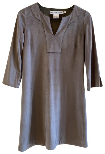 Item - Gray Suede Shift Mid-length Short Casual Dress Size 2 (XS)