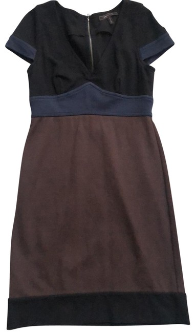 Item - Brown Black and Teal Exposed Zipper Mid-length Short Casual Dress Size 6 (S)