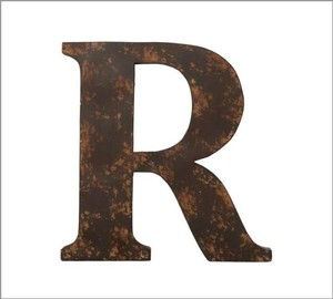 Pottery Barn Iron/Bronze R Metal Letter Reception Decoration