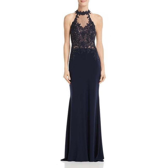Item - Navy G Embellished Sheer Evening Long Formal Dress Size 2 (XS)