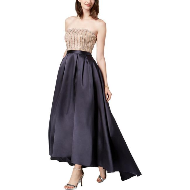 Item - Navy Strapless Beaded Evening Mid-length Formal Dress Size 2 (XS)