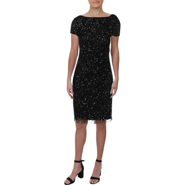 Adrianna Papell Black Sequined Mini Party Short Cocktail Dress Size 4 (S) Adrianna Papell Black Sequined Mini Party Short Cocktail Dress Size 4 (S) Image 2