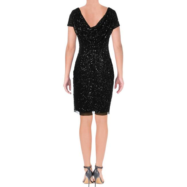Adrianna Papell Black Sequined Mini Party Short Cocktail Dress Size 4 (S) Adrianna Papell Black Sequined Mini Party Short Cocktail Dress Size 4 (S) Image 3
