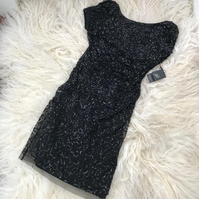 Adrianna Papell Black Sequined Mini Party Short Cocktail Dress Size 4 (S) Adrianna Papell Black Sequined Mini Party Short Cocktail Dress Size 4 (S) Image 5