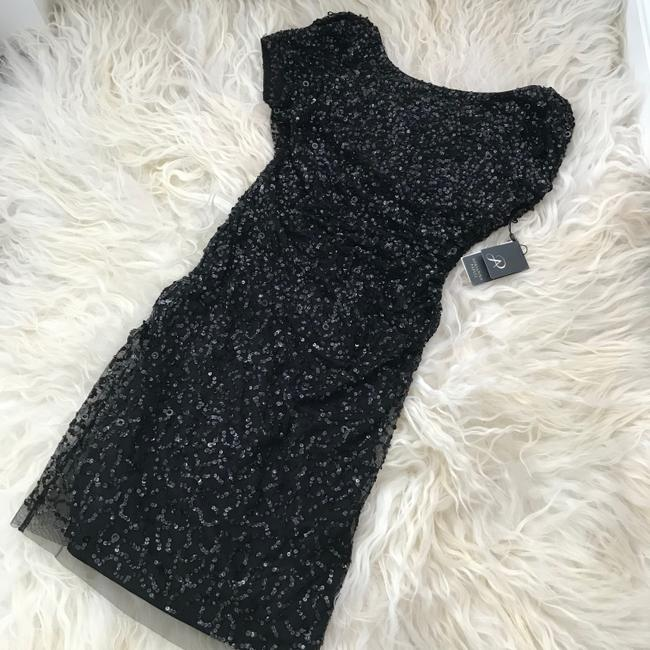 Adrianna Papell Black Sequined Mini Party Short Cocktail Dress Size 4 (S) Adrianna Papell Black Sequined Mini Party Short Cocktail Dress Size 4 (S) Image 6