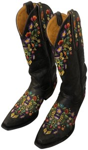 Old Gringo Leather Cowboy Floral Vintage Black Boots