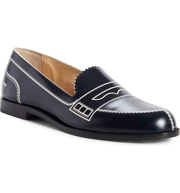 Item - Navy Mocalaureat Leather Loafer Moccasin Flats Size EU 37 (Approx. US 7) Regular (M, B)