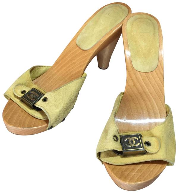 Item - Yellow Adjustable Strap Mules/Slides Size EU 38 (Approx. US 8) Regular (M, B)