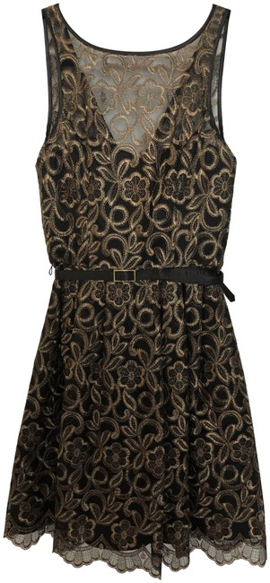 Item - Black & Gold Mid-length Cocktail Dress Size 4 (S)
