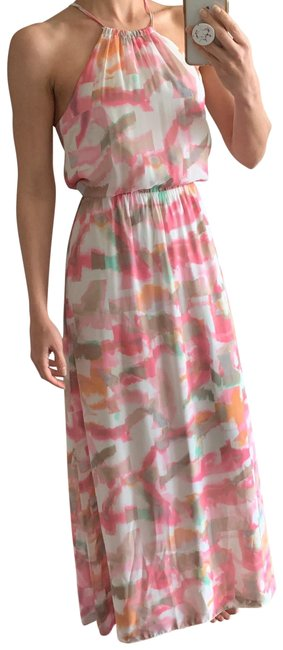 Item - Pink Floral Watercolor Long Casual Maxi Dress Size 0 (XS)