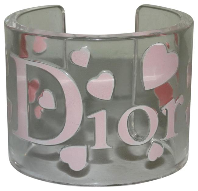 Item - Pink And Clear Acrylic Engraved Heart Cuff Bangle Bracelet