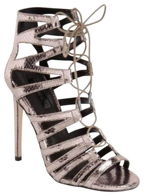 Item - Silver-pewter-grey Silver Pewter Grey Snake Lace Up Heels Sandals Size EU 37.5 (Approx. US 7.5) Regular (M, B)