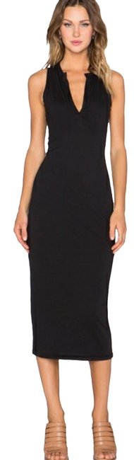Item - Black Open Henley Mid-length Casual Maxi Dress Size 4 (S)