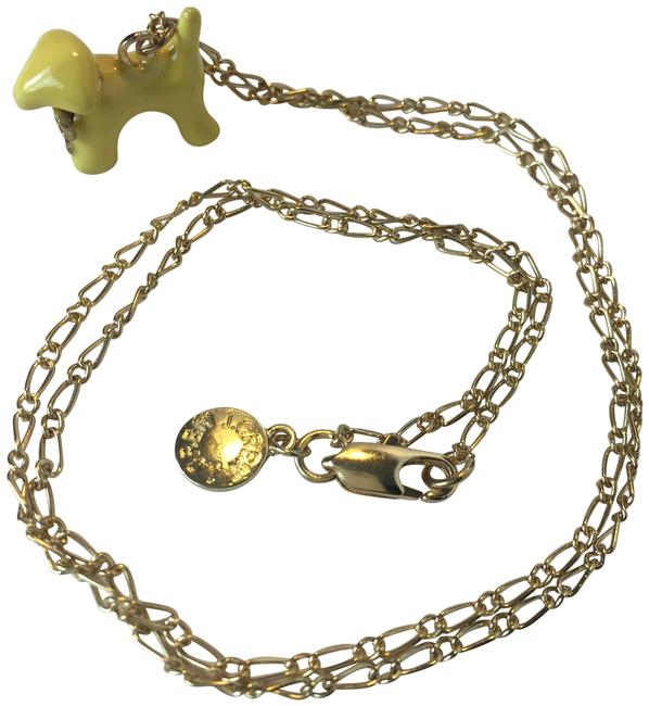 J.Crew Yellow/Gold W Long W/ Dog+bow Charm Necklace J.Crew Yellow/Gold W Long W/ Dog+bow Charm Necklace Image 1