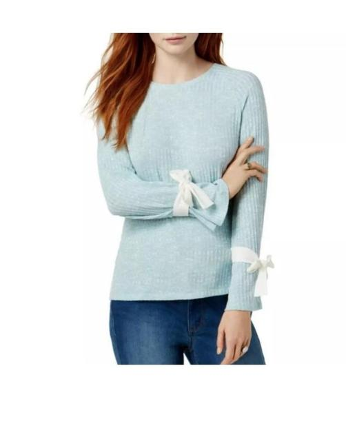 Preload https://img-static.tradesy.com/item/27488967/kensie-rib-knit-chiffon-back-tie-bell-sleeve-style-ksnk37m9-blue-white-sweater-0-0-650-650.jpg