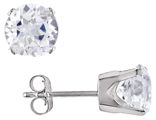 Other 10k White Gold White Sapphire Solitaire Stud Earrings