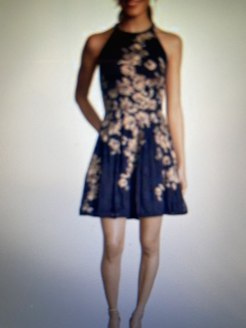 Item - Navy Blue/Gold Fit Flare Short Formal Dress Size 12 (L)