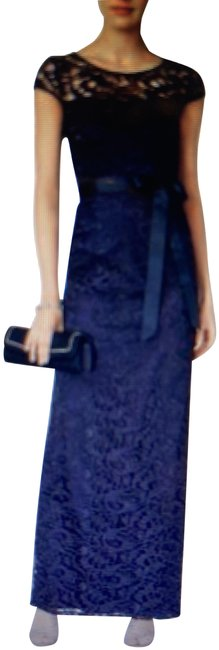 Item - Midnight Blue Cap Sleeve Illusion Lace Gown Long Cocktail Dress Size 12 (L)