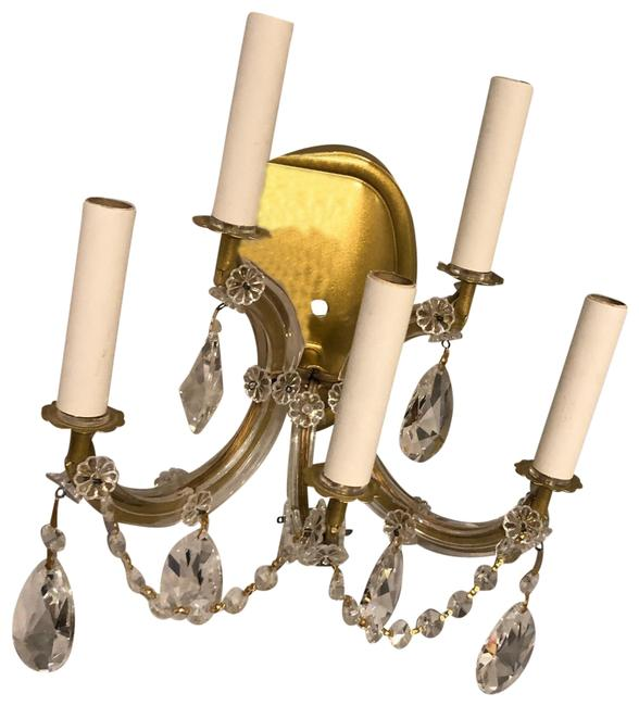 Item - Gold/Clear Single 5-light Crystal Wall Sconce