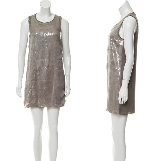 Item - Taupe Silk Mini Short Cocktail Dress Size 4 (S)