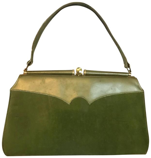 Item - 1960's Hand Green Faux Leather Satchel