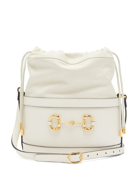 Item - Bucket Horsebit Mf 1955 White Leather Shoulder Bag