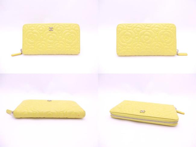 Chanel Yellow Round Zipper Camellia Coco Mark Light Leather Silver Hardware Ladies E41962 Wallet Chanel Yellow Round Zipper Camellia Coco Mark Light Leather Silver Hardware Ladies E41962 Wallet Image 2